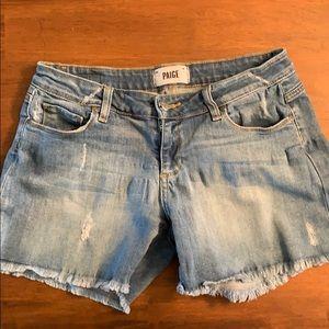 Paige distressed denim shorts size 26